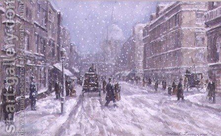 Fleet Street, London by Theodor Franz Zimmermann - Reproduction Oil Painting