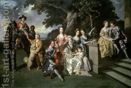 The Family of Sir William Young (1725-88) c.1766 by Johann Zoffany - Reproduction Oil Painting