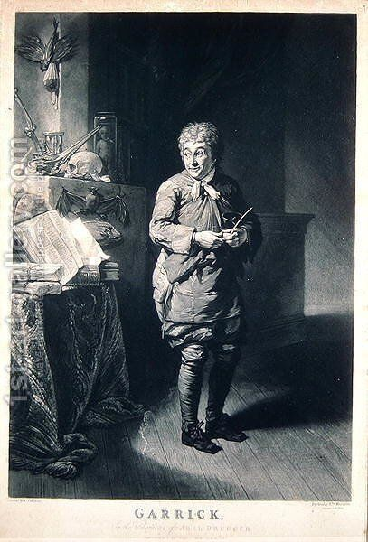 David Garrick (1717-79) as Abel Drugger in The Alchemist by Ben Jonson, pub. in 1835 by Johann Zoffany - Reproduction Oil Painting