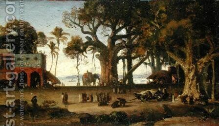Moonlit Scene of Indian Figures and Elephants among Banyan Trees, Upper India (probably Lucknow) by Johann Zoffany - Reproduction Oil Painting