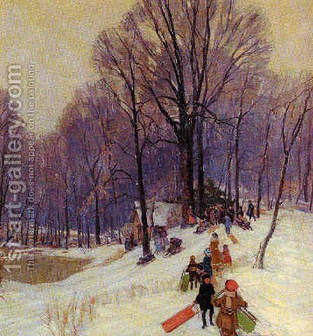 Winter sledding by Carl Rudolph Krafft - Reproduction Oil Painting