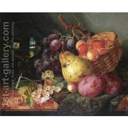Still life with a basket of cherries, a pear, plums and white-currants on a marble ledge by Ellen Ladell - Reproduction Oil Painting