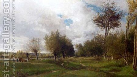 Le chemin vert by Emile Charles Lambinet - Reproduction Oil Painting