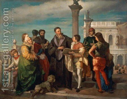 The Meeting Between Titian (1488-1576) and Veronese (1528-88) on the Ponte della Paglia by Antonio Zona - Reproduction Oil Painting