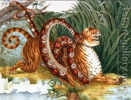 The Tiger and the Boa Constrictor, 1835 by Aloys Zotl - Reproduction Oil Painting
