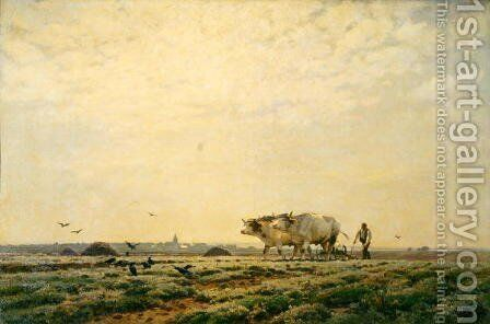 The First Furrows, Haute Alsace or The Labourer, 1883 by Jean Henri Zuber - Reproduction Oil Painting