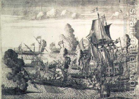Battle off Cape Gangut (Hanko) on 25th July 1714, 1715 by Alexei Fyodorovich Zubov - Reproduction Oil Painting