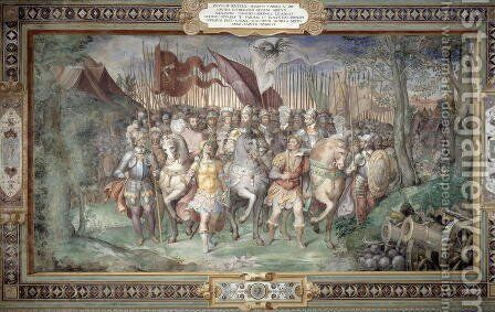 Charles V (1500-58) Alessandro (1546-92) and Ottaviano Farnese Leading the Army Against the Landgrave Phillip of Hesse in 1546 from the Sala dei Fasti Farnese (Hall of the Splendors of the Farnese) 1557-66 by Taddeo Zuccaro - Reproduction Oil Painting
