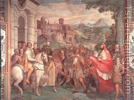 Charles V (1500-58) with Alessandro Farnese (1546-92) at Worms, from the Sala dei Fasti Farnese (Hall of the Splendors of the Farnese), 1557-66 by Taddeo Zuccaro - Reproduction Oil Painting