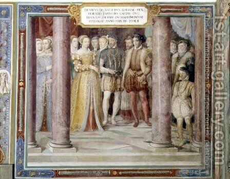 The Marriage of Orazio Farnese and Diana, daughter of Henri II of France (1519-59) from the Sala dei Fasti Farnese (Hall of the Splendours of the Farnese) 1557-66 by Taddeo Zuccaro - Reproduction Oil Painting