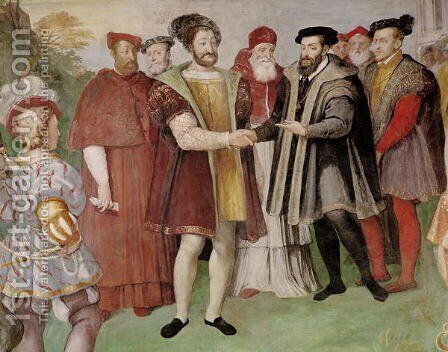 The Truce of Nice between Francis I (1494-1547) and Charles V (1500-58) from the Sala del Consiglio Trento by Taddeo Zuccaro - Reproduction Oil Painting