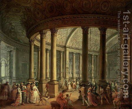 Fete Champetre at The Oaks, near Epsom: The Ballroom by Antonio Zucchi - Reproduction Oil Painting