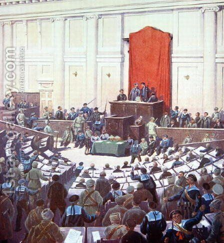 The only session of the All-Russian Constituent Assembly held in Petrograd on 18th January 1918 by Boris Zvorykine - Reproduction Oil Painting