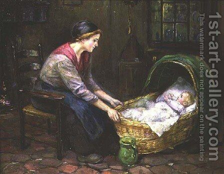 Mother and Child by Cornelis C. Zwaan - Reproduction Oil Painting