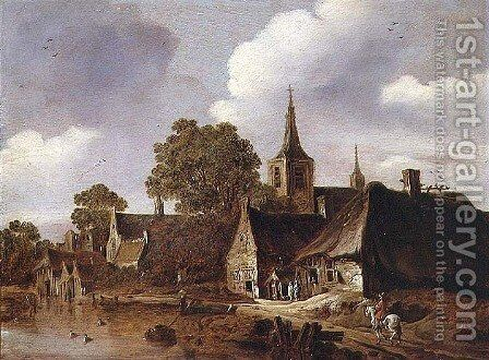 A Village by a River by Cornelis van Zwieten - Reproduction Oil Painting