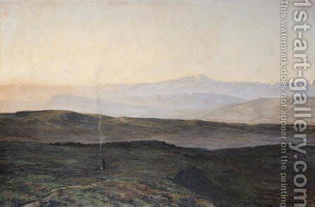 View of the Pyrenees from Plague by Edmond Yarz - Reproduction Oil Painting