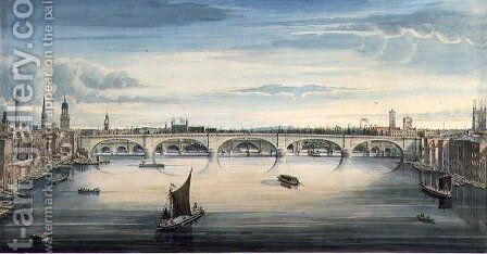 West view of New London Bridge and Old London Bridge, 1830 2 by Gideon Yates - Reproduction Oil Painting