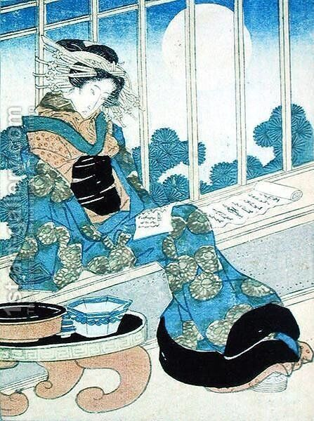 Japanese Lady Reading by Moonlight by Keisai Yeisen - Reproduction Oil Painting