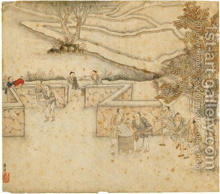 Winnowing and Sifting, from Gengzhi tu (Pictures of Tilling and Weaving) by Tang Yin - Reproduction Oil Painting