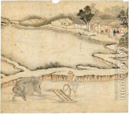 Ploughing the paddy field, from Gengzhi tu (Pictures of Tilling and Weaving) by Tang Yin - Reproduction Oil Painting