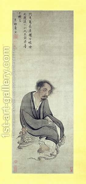 The Immortal Ge Changgeng sitting on his Three-legged Toad, 1506-10 by Tang Yin - Reproduction Oil Painting
