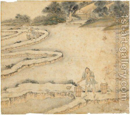 Bringing Water to the Paddy Fields, from Gengzhi tu (Pictures of Tilling and Weaving) by Tang Yin - Reproduction Oil Painting
