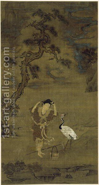 The Daoist Immortal Magu with a Crane and Flower Basket, Yuan Dynasty (ink, colour and gold on silk) by Chen Yuexi - Reproduction Oil Painting