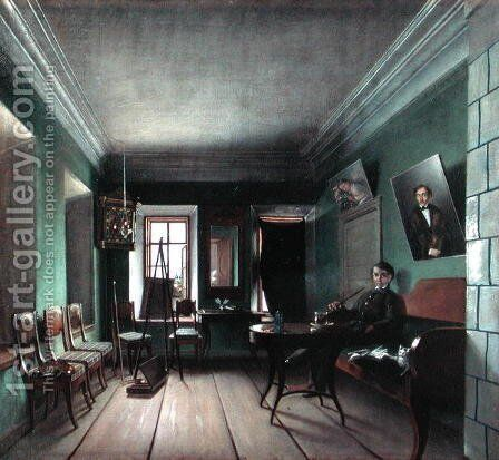 Interior of Bykov's House, 1850s by Grigory Vasilievich Yurov - Reproduction Oil Painting