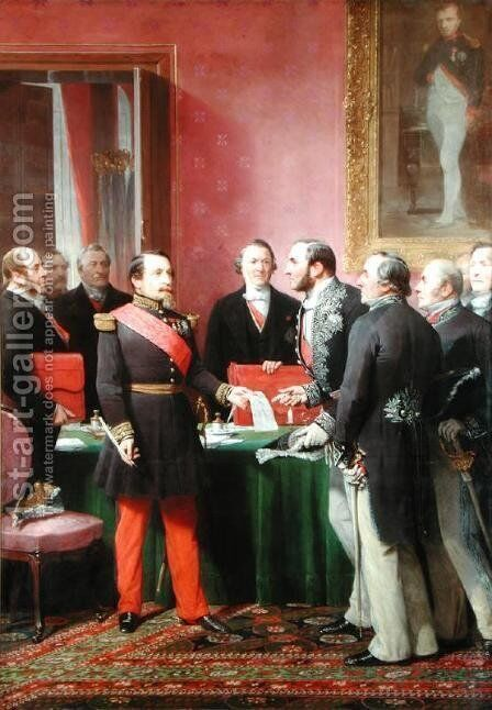 Napoleon III (1808-73) Hands Over The Decree allowing the Annexation of the Suburban Communes of Paris to Baron Georges Haussmann (1809-91) in June 1859 by Adolphe Yvon - Reproduction Oil Painting