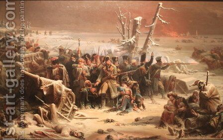 Marshal Ney Supporting the Rear Guard During the Retreat from Moscow, 1856 by Adolphe Yvon - Reproduction Oil Painting