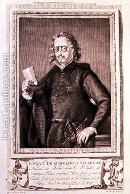 Portrait of Francisco Gomez de Quevedo y Villegas (1580-1645) engraved by Mariano Brandi for a collection of Illustrious Men by (after) Ximeno y Planes, Rafael - Reproduction Oil Painting