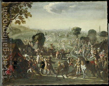 The plundering of a village during the Thirty Years War, 1660 by Cornelis de Wael - Reproduction Oil Painting