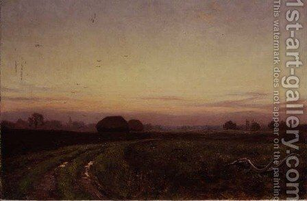 Sunset or The Resting Plough, Woolhampton, Berkshire, 1911 by Edward Wilkins Waite - Reproduction Oil Painting