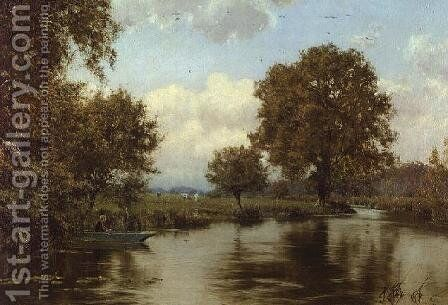A Summer's Day on a Berkshire Stream (River Kennet, Berkshire), 1915 by Edward Wilkins Waite - Reproduction Oil Painting
