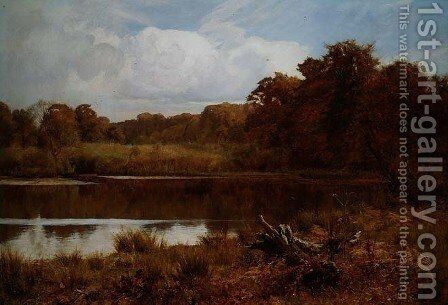 A Silent Pool: Autumn, Abinger Mill Pond, Surrey by Edward Wilkins Waite - Reproduction Oil Painting