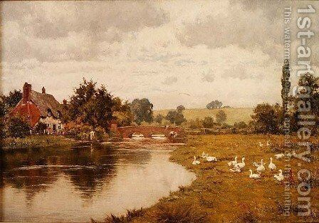 An Old Cottage by the Lambourn, Boxford, Berks by Edward Wilkins Waite - Reproduction Oil Painting