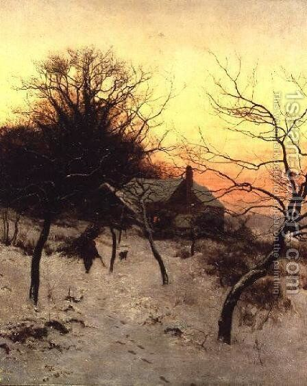Mid-winter at Abinger Hammer, near Dorking, 1892 by Edward Wilkins Waite - Reproduction Oil Painting