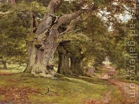 The Oak's Massive Trunk, Aldermaston Park, Berkshire, 1912 by Edward Wilkins Waite - Reproduction Oil Painting