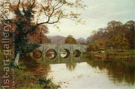A Day in Late Autumn, Old Box Hill Bridge, Surrey by Edward Wilkins Waite - Reproduction Oil Painting