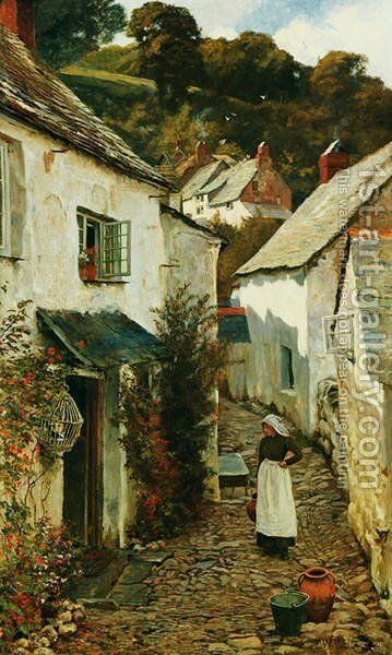 A Street in Clovelly, 1899 by Edward Wilkins Waite - Reproduction Oil Painting