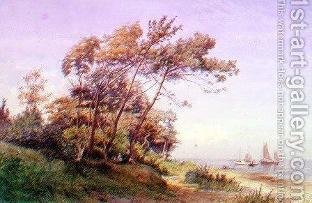 A Picnic on the Coast, Isle of Wight, with a yacht moored offshore flying the ensign of the Royal Yacht Squadron by James Clarke Waite - Reproduction Oil Painting