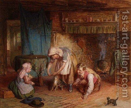 Pussys First Lesson, c.1870 by James Clarke Waite - Reproduction Oil Painting