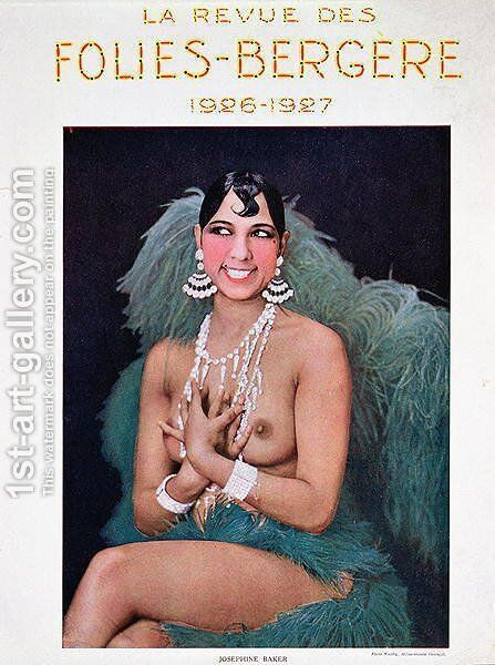 Josephine Baker (1906-75), illustration for the cover of a programme at the Folies Bergere, 1926-7 by (after) Walery, Stanislas - Reproduction Oil Painting