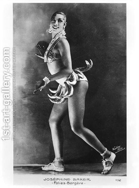 Josephine Baker (1906-75) at the Folies Bergere by Stanislaus Walery - Reproduction Oil Painting