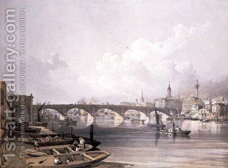 London Bridge, from above the bridge, engraved by William Simpson (1823-99), pub. 1852 by Lloyd Bros. & Co. by Edmund Walker - Reproduction Oil Painting