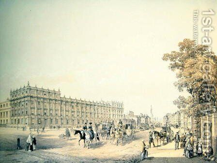 The Treasury, Whitehall, pub. by Lloyd Bros. & Co. 1852 by Edmund Walker - Reproduction Oil Painting