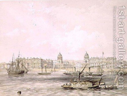 Greenwich Hospital, engraved by Thomas Picken (fl.1838-d.1870), pub. 1852 by Lloyd Bros. & Co. by Edmund Walker - Reproduction Oil Painting