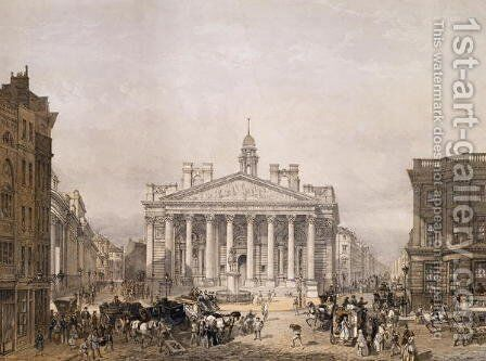 Royal Exchange and The Bank of England, pub. 1852 by Lloyd Bros. & Co. by Edmund Walker - Reproduction Oil Painting