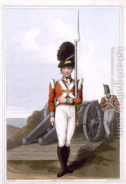 Grenadier of the First West York Militia, engraved by Robert Havell the Elder, published 1814 by Robinson and Son , Leeds by (after) Walker, George - Reproduction Oil Painting