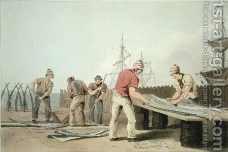 Whalebone Scrapers, from Costume of Yorkshire, engraved by Robert Havell (1769-1832) 1814 by (after) Walker, George - Reproduction Oil Painting